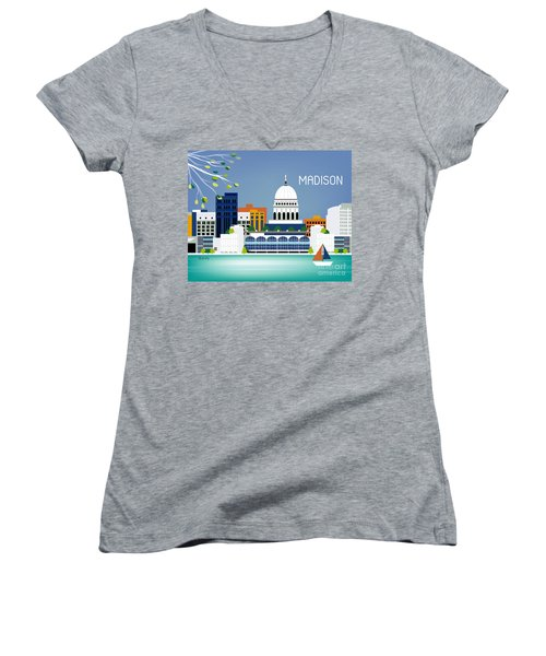 Madison Wisconsin Horizontal Skyline Women's V-Neck T-Shirt (Junior Cut) by Karen Young