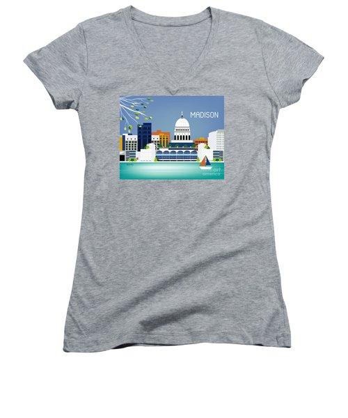 Madison Wisconsin Horizontal Skyline Women's V-Neck T-Shirt