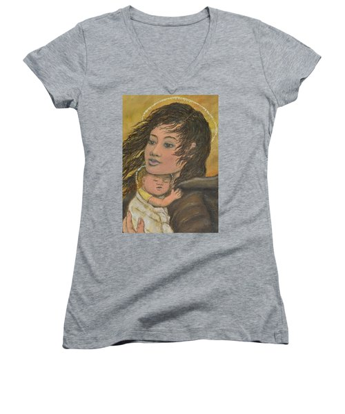Madonna Of The Prairie Wind Women's V-Neck T-Shirt