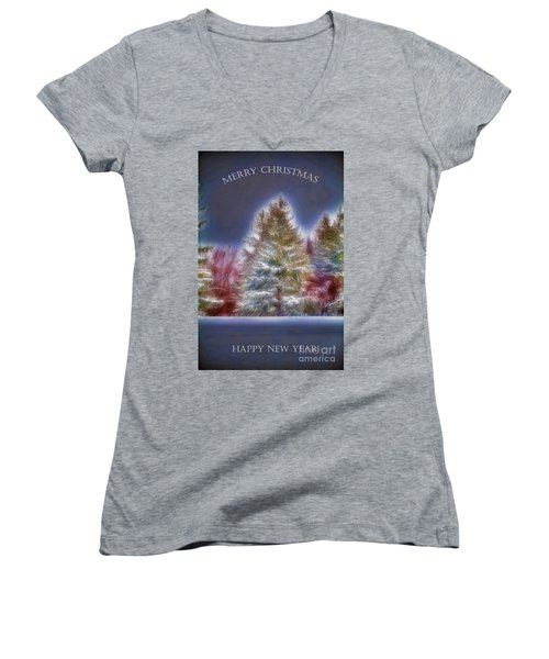 Women's V-Neck T-Shirt (Junior Cut) featuring the photograph Merrry Christmas And Happy New Year by Jim Lepard