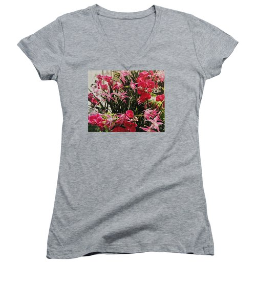 Magenta Orchid Garden Women's V-Neck T-Shirt (Junior Cut) by Marsha Heiken