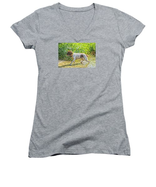 Maggie Stride Women's V-Neck T-Shirt (Junior Cut) by Constantine Gregory