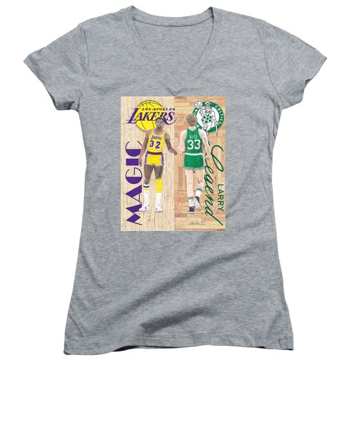 Magic Johnson And Larry Bird Women's V-Neck T-Shirt (Junior Cut) by Chris Brown