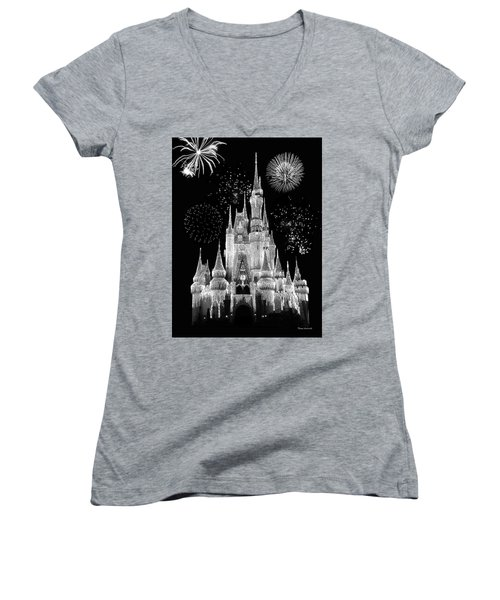 Magic Kingdom Castle In Black And White With Fireworks Walt Disney World Mp Women's V-Neck T-Shirt (Junior Cut) by Thomas Woolworth