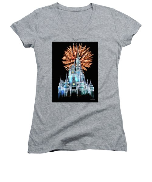 Magic Kingdom Castle In Frosty Light Blue With Fireworks 02 Mp Women's V-Neck T-Shirt (Junior Cut) by Thomas Woolworth