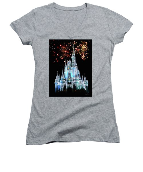 Magic Kingdom Castle In Frosty Light Blue With Fireworks 03 Mp Women's V-Neck T-Shirt (Junior Cut) by Thomas Woolworth
