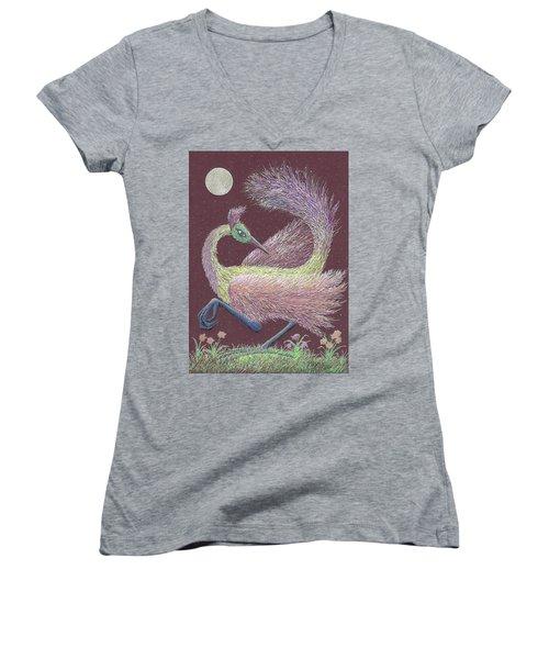 Magic Moon Dance Women's V-Neck T-Shirt (Junior Cut) by Charles Cater