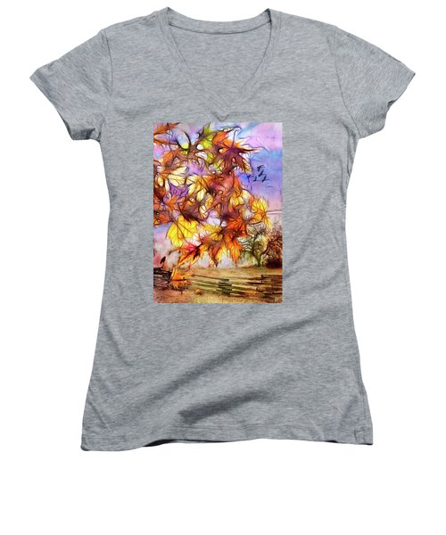 Magic Of Autumn Women's V-Neck T-Shirt