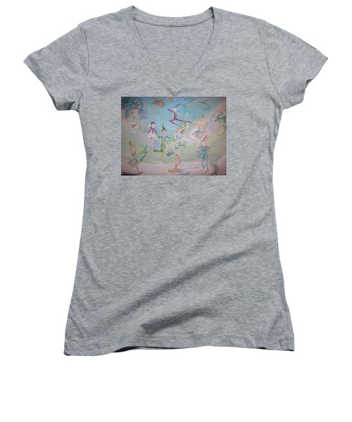 Magical Elf Dance Women's V-Neck T-Shirt (Junior Cut) by Judith Desrosiers