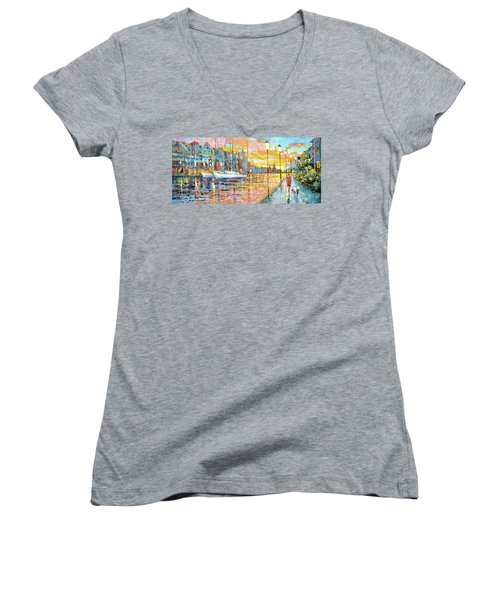 Women's V-Neck T-Shirt (Junior Cut) featuring the painting Magical Sunset by Dmitry Spiros