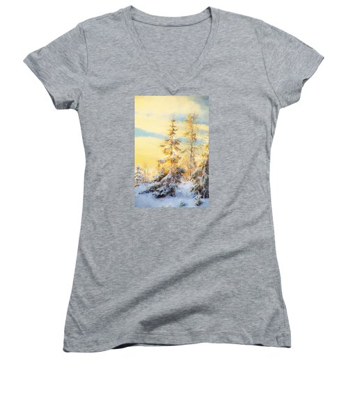 Women's V-Neck T-Shirt (Junior Cut) featuring the photograph Magical Winter Landscape by Rose-Maries Pictures