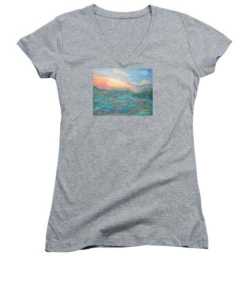 Magnificent Sunset Women's V-Neck T-Shirt (Junior Cut) by Holly Carmichael
