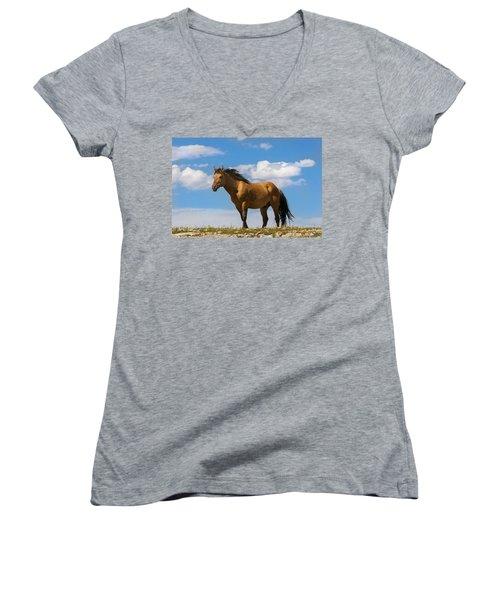 Magnificent Wild Horse Women's V-Neck