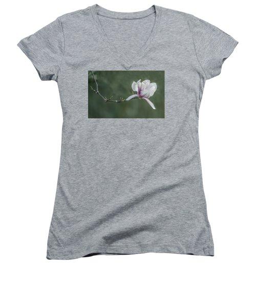 Magnolia Blossom Women's V-Neck (Athletic Fit)