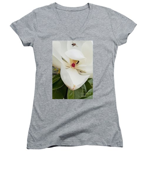 Magnolia Fans Women's V-Neck T-Shirt (Junior Cut) by Jasna Gopic