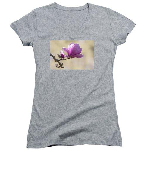 Magnolia Flower Women's V-Neck T-Shirt