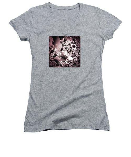 Magnolia Pink Women's V-Neck T-Shirt (Junior Cut) by Karen Lewis