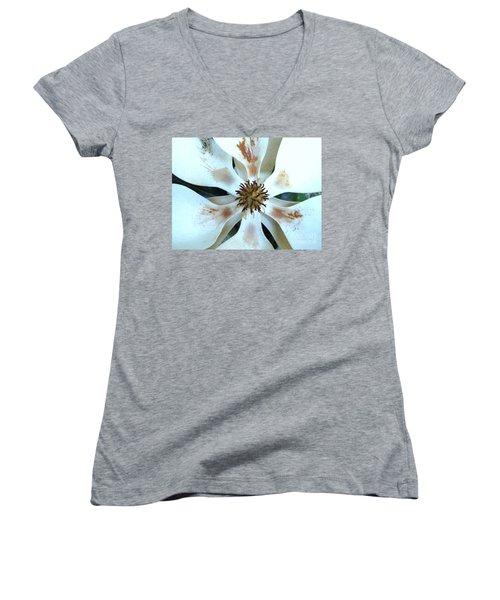 Magnolia Pinwheel Women's V-Neck T-Shirt (Junior Cut) by Nancy Kane Chapman