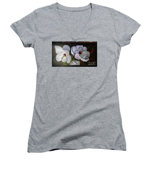 Magnolias White Flower Women's V-Neck T-Shirt (Junior Cut)