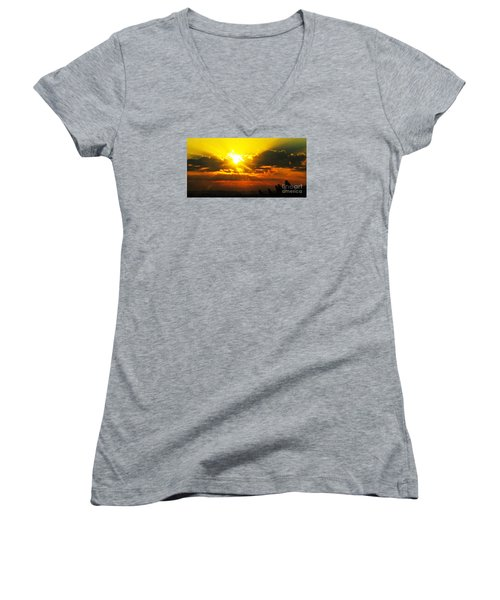 Mahlon Sweet Sunset Women's V-Neck T-Shirt (Junior Cut)
