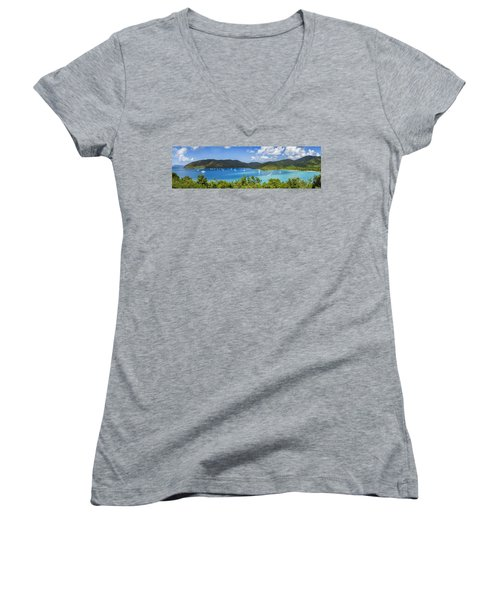 Women's V-Neck T-Shirt (Junior Cut) featuring the photograph Maho And Francis Bays On St. John, Usvi by Adam Romanowicz