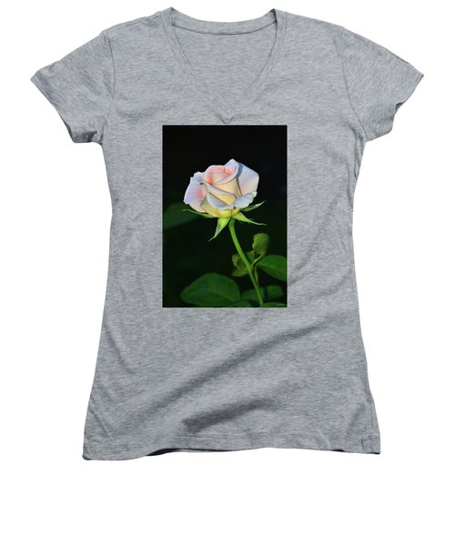Women's V-Neck T-Shirt (Junior Cut) featuring the photograph Maid Of Honour Rose 001 by George Bostian