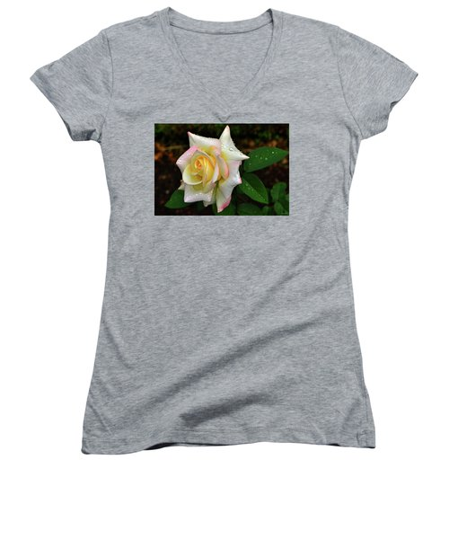 Women's V-Neck T-Shirt (Junior Cut) featuring the photograph Maid Of Honour Rose 003 by George Bostian