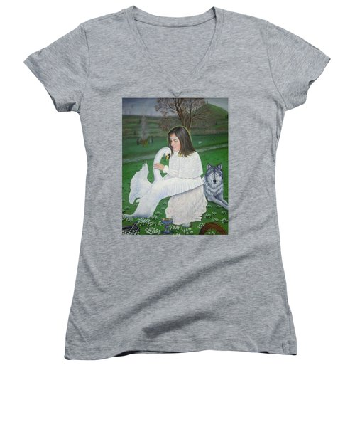 Maiden Goddess Brigit - Imbolc Women's V-Neck