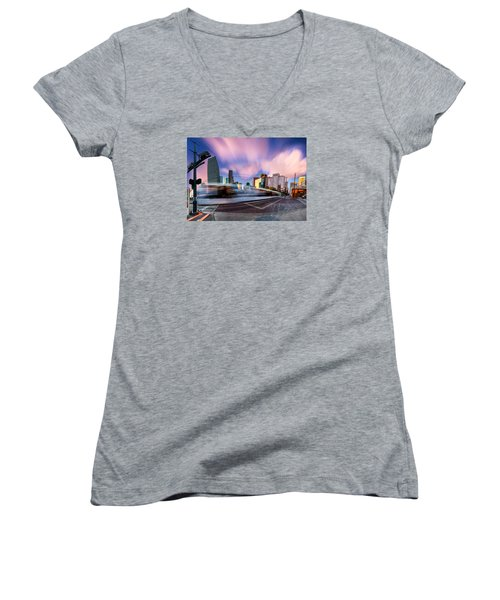 Women's V-Neck T-Shirt (Junior Cut) featuring the photograph Main And Bell St Downtown Houston Texas by Micah Goff