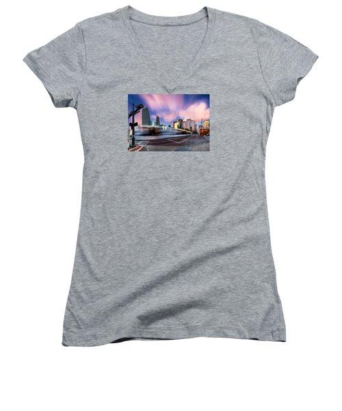 Main And Bell St Downtown Houston Texas Women's V-Neck T-Shirt (Junior Cut)