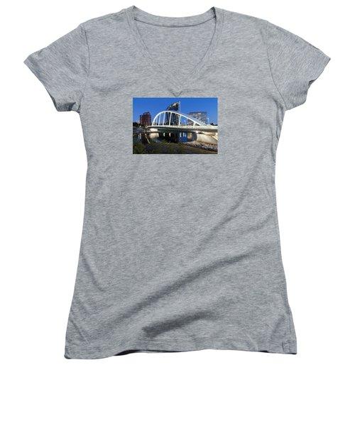 Main Street Bridge Columbus Women's V-Neck T-Shirt (Junior Cut) by Alan Raasch
