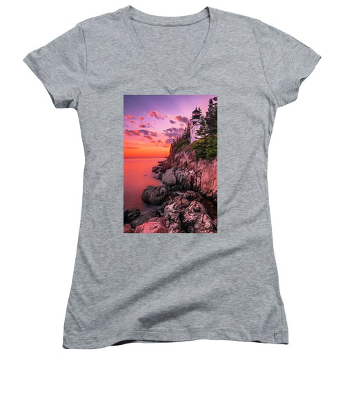Women's V-Neck T-Shirt (Junior Cut) featuring the photograph Maine Bass Harbor Lighthouse Sunset by Ranjay Mitra
