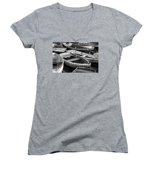 Women's V-Neck T-Shirt (Junior Cut) featuring the photograph Maine Boats by Ranjay Mitra
