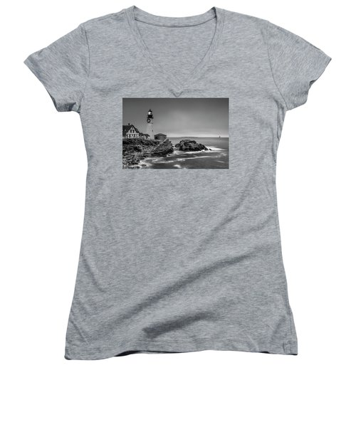 Women's V-Neck T-Shirt (Junior Cut) featuring the photograph Maine Cape Elizabeth Lighthouse Aka Portland Headlight In Bw by Ranjay Mitra