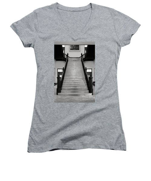 Maine Capitol West Wing Staircase Women's V-Neck (Athletic Fit)