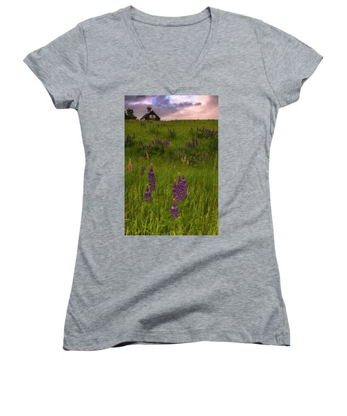 Maine Lupines And Home After Rain And Storm Women's V-Neck