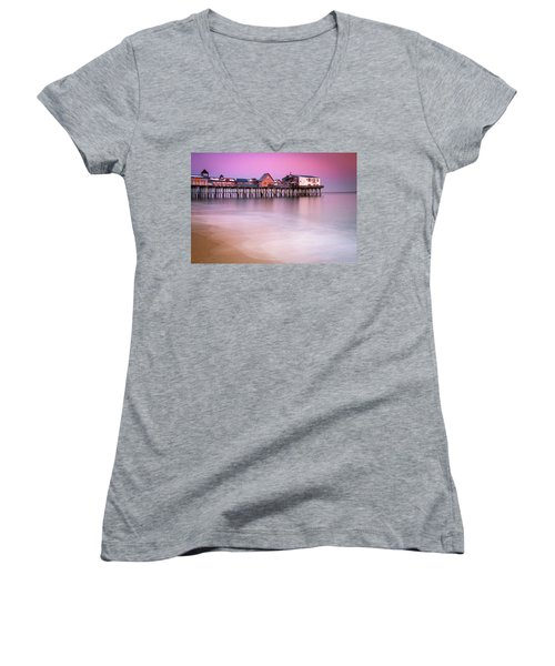 Women's V-Neck T-Shirt (Junior Cut) featuring the photograph Maine Old Orchard Beach Pier Sunset  by Ranjay Mitra
