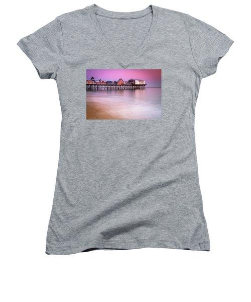 Maine Old Orchard Beach Pier Sunset  Women's V-Neck