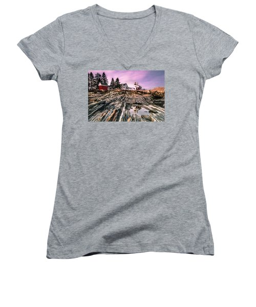 Women's V-Neck T-Shirt (Junior Cut) featuring the photograph Maine Pemaquid Lighthouse Reflection In Summer by Ranjay Mitra