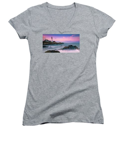 Maine Portland Headlight Lighthouse At Sunset Panorama Women's V-Neck T-Shirt (Junior Cut) by Ranjay Mitra