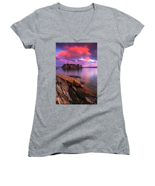Maine Pound Of Tea Island Sunset At Freeport Women's V-Neck T-Shirt (Junior Cut) by Ranjay Mitra