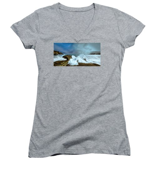 Maine Rocky Coast During Storm At Two Lights Women's V-Neck T-Shirt (Junior Cut) by Ranjay Mitra