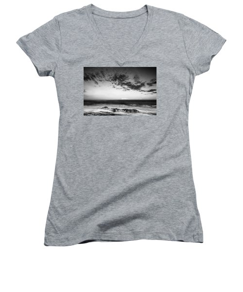 Maine Rocky Coast With Boulders And Clouds At Two Lights Park Women's V-Neck T-Shirt (Junior Cut) by Ranjay Mitra