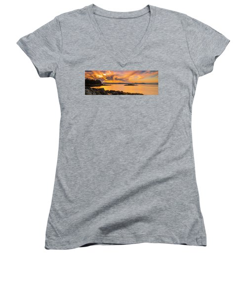 Maine Rocky Coastal Sunset In Penobscot Bay Panorama Women's V-Neck T-Shirt (Junior Cut) by Ranjay Mitra