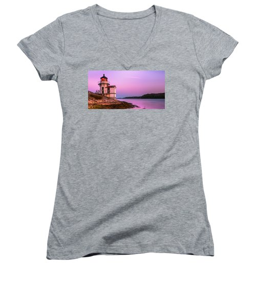 Maine Squirrel Point Lighthouse On Kennebec River Sunset Panorama Women's V-Neck