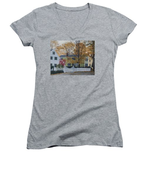 Autumn Day On Maine Street, Kennebunkport Women's V-Neck T-Shirt (Junior Cut) by Barbara Barber