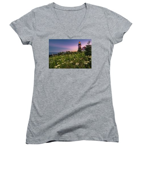 Women's V-Neck T-Shirt (Junior Cut) featuring the photograph Maine West Quoddy Head Lighthouse Sunset by Ranjay Mitra