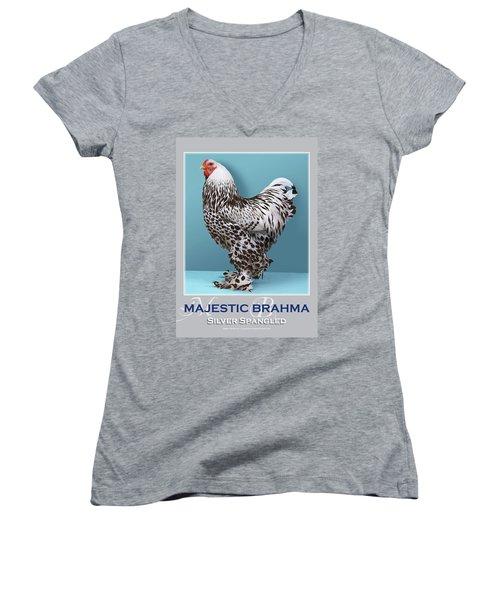 Majestic Brahma Silver Spangled Women's V-Neck