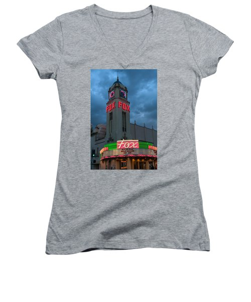 Majestic Fox Theater Neon Tribute Merle Haggard Women's V-Neck T-Shirt