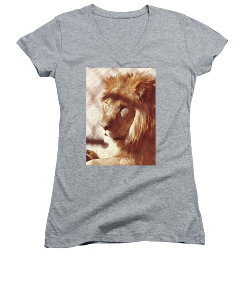Women's V-Neck T-Shirt (Junior Cut) featuring the painting Majestic Lion by Margaret Harmon
